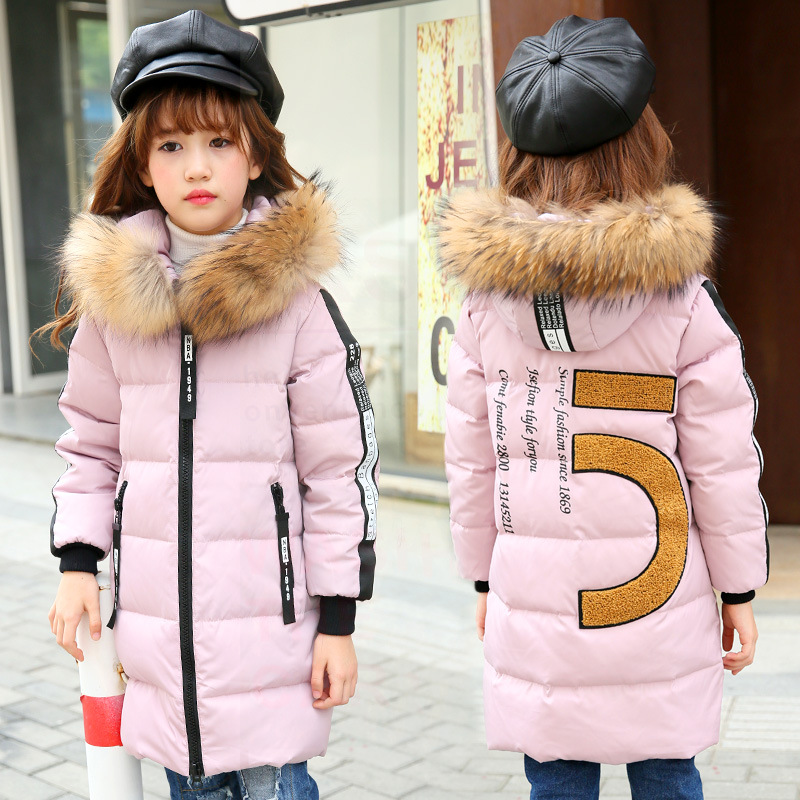 -30 degrees Girls winter down jacket 2016 new children s duck Down Kids Outerwears Big wool collar warm baby coats 4-13Y