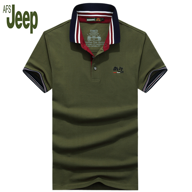 2017 new arrival spring  AFS JEEP Battlefield Jeep men's polo shirt short-sleeved solid color classic polo shirt men 50