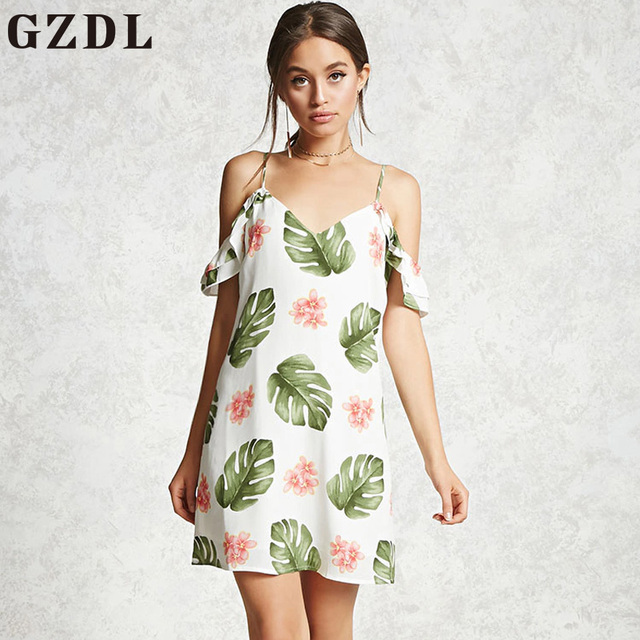57818a8a73 GZDL Sexy V Neck Backless Women Chiffon Print Mini Dress Style Summer  Casual Beach Party Spaghetti Strap Sleeveless Dress CL4310
