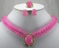 Wholesale Lucky Women's Luxurious Pink gem Ring Stud Earrings Necklace Pendant Jewelry Set AAA Wedding Jewellery