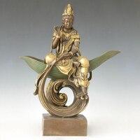 Atlie бронзы Китайский Бронзовый Гуаньинь Бодхисаттвы статуя Будды религиозных рисунок Авалокитешвара богини милосердия