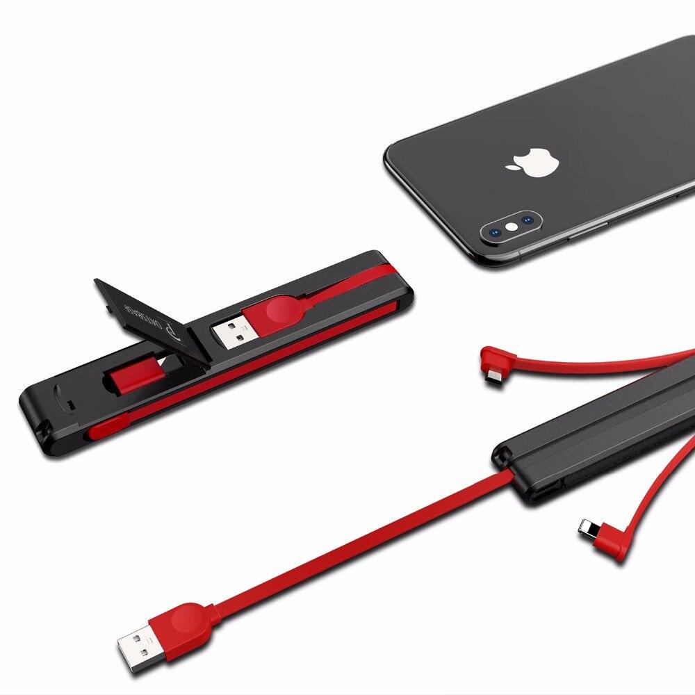 Oatsbasf 3 en 1 micro USB tipo C 8 Pasadores cable USB para iPhone 7 6x8 diseño creativo oculta cable USB para xiaomi Huawei