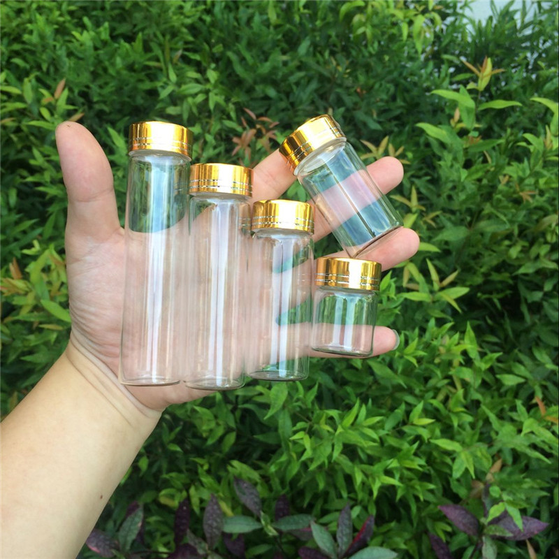 Jars <font><b>Containers</b></font> Glass Bottles Aluminium Gold Screw Cap Empty Glass Bottles 15ml <font><b>25ml</b></font> 40ml 50ml 60ml 50pcs Free Shipping image
