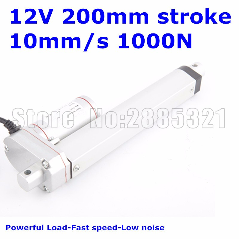 Waterproof IP65 12V 200mm 8 inches stroke 1000N 100KG 225LBS load 10mm/sec speed DC electric linear actuator LA10Waterproof IP65 12V 200mm 8 inches stroke 1000N 100KG 225LBS load 10mm/sec speed DC electric linear actuator LA10