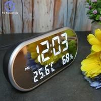 LED Digital Alarm Clock With Temperature Reveil Watch USB Electronic Table Clocks Oval Mirror Desk Clock Despertador