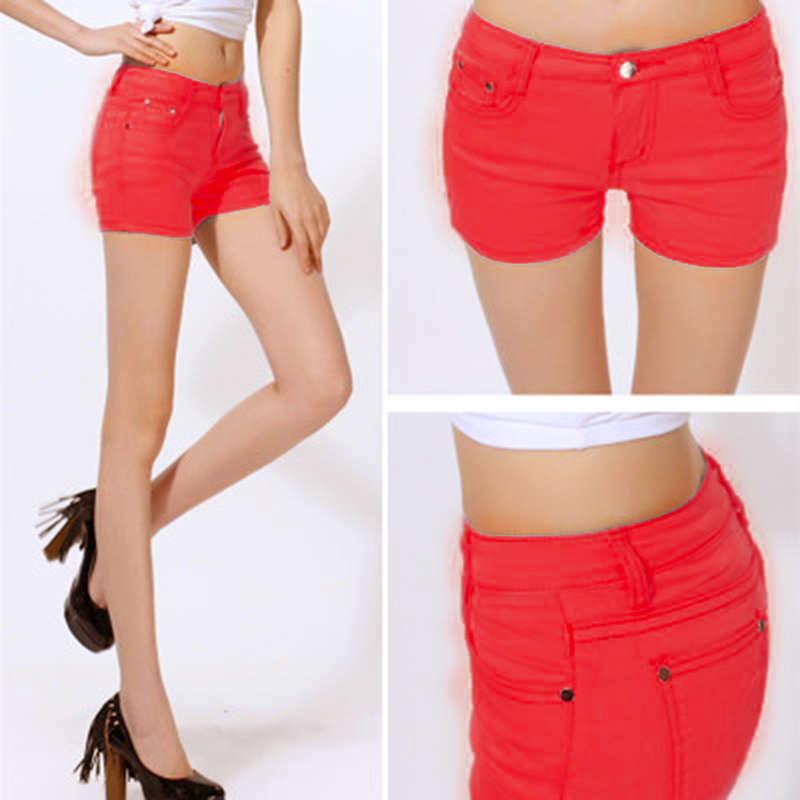 Women Casual Denim Shorts Candy Color Jean Short Hot For Summer NGD88