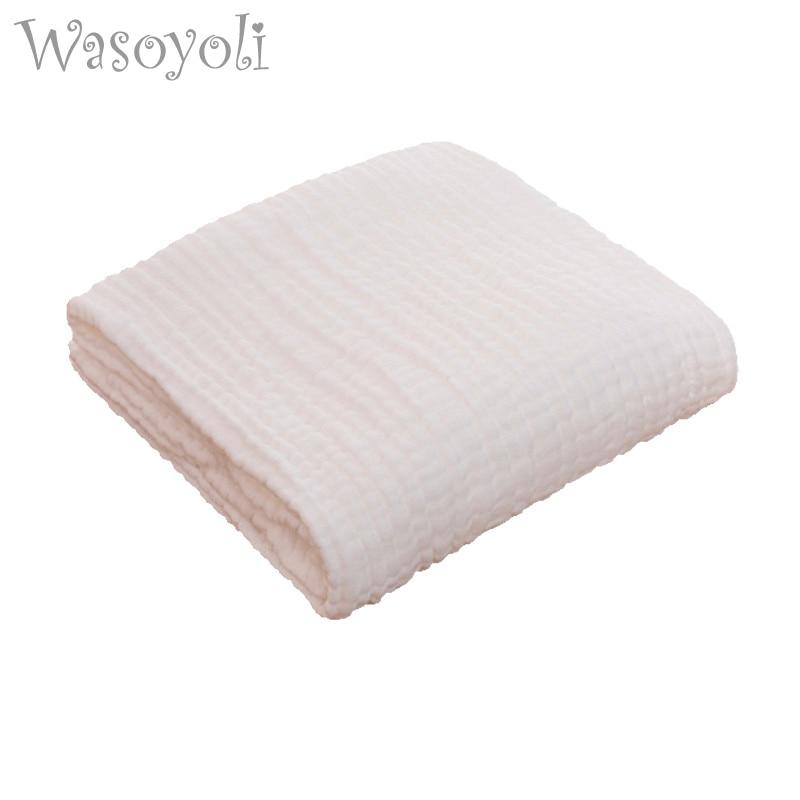 Wasoyoli Baby White Swaddles 110*110cm 100% Seersucker Muslin Cotton Newborn Baby Quilt Blankets Soft Bath Hold Wraps