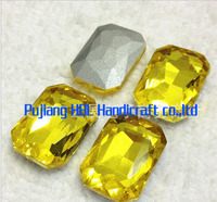 Citrine Colour 3 Sizes Crystal Square Octagon Stones For Clothes Decoration Glass Craft Stone