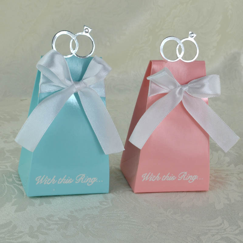 100pcs White And Pink Diamond Ring Wedding Candy Chocolates Gifts Box For Party Occacion Table Invitation Decoration