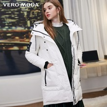 Vero Moda new hooded letters back velcro long down jacket |