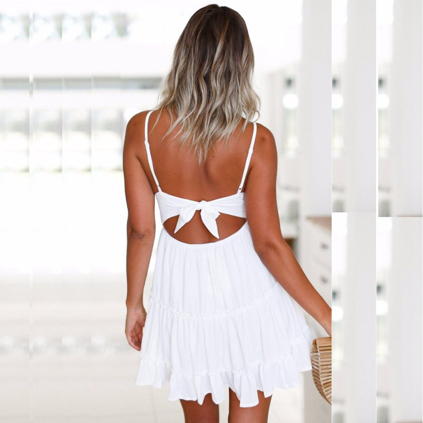 SEXMKL Backless Women Sexy Red Dress 2018 Summer Cocktail Party Slim Badycon Short Beach Mini Dresses Female White Lace Dress