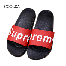 11ebf9869567 Women s Summer Letter Slippers Indoor Non-slip Bathroom Slippers Outside Beach  Flip Flops Women Slides