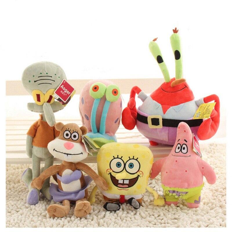 Hot!!! Kid Sponge Stuffed Plush Toy Sponge Bob/Patrick/Crab/Sandy/Octopus/Snail Dolls Kids Plush Toys Best Gift For Children свитшот print bar sponge bob