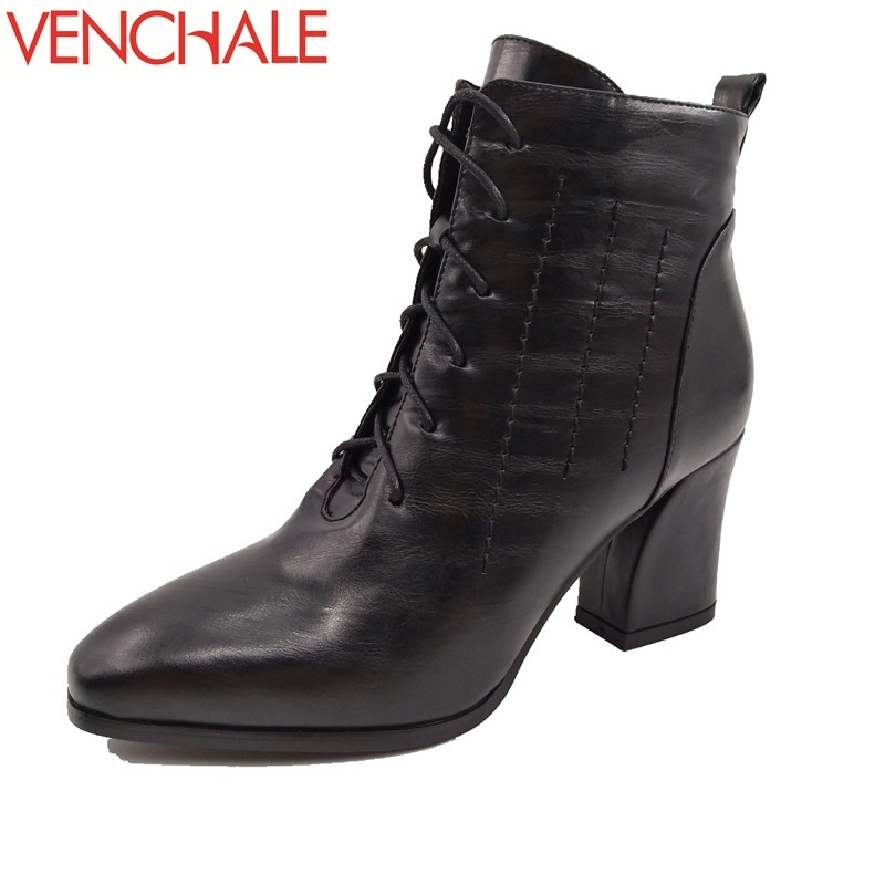 VENCHALE ankle boots 2017 woman laced upp high heels square toe solid thick high heels fine workmanship breathable women boots 5pcs different convex bottom brass wrap blackwood planes fine workmanship woodworkingluthier tools