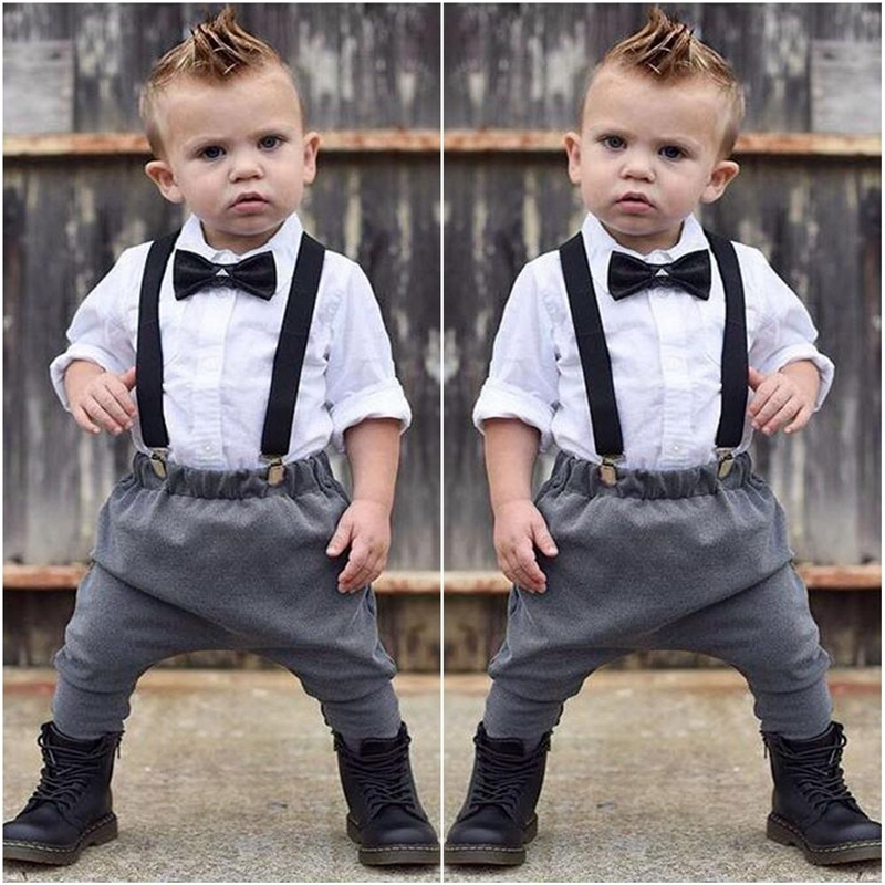 Fashion 2Pcs Newborn Baby Boys Clothes Babys Boy Long Sleeve Shirt Bow Tops+Pants 2017 Overall Outfit Baby Boy Clothing Set 0-2T kids baby boy long sleeve gentleman t shirt tops long pants 2pcs outfits clothing set hot