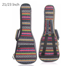 21 / 23 Inch Ukulele Bags Folk Style Knitted Backpack Case 10mm Cotton Padding Adjustable Shoulder Strap 21 23 ukulele backpack portable soft pad cotton thickening folk style ukelele case cover
