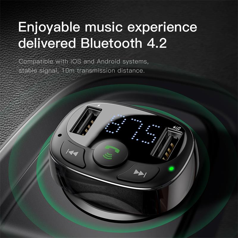 Baseus FM Transmitter Handsfree Bluetooth Car Kit for Mobile Phone LCD MP3 Player With 3.4A Dual USB Car Phone Charger