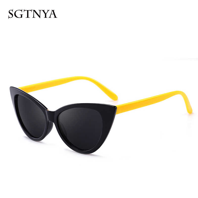 บุคลิกภาพ cat eye แว่นตากันแดด classic retro men และแว่นตากันแดดผู้หญิงยี่ห้อ designer แว่นตาแฟชั่น UV400