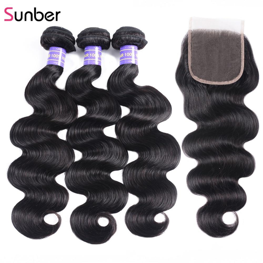 Sunber Hair Brazilian Body Wave With Closure Brazilian Remy Hair Bundles With Closure Human Hair Bundles