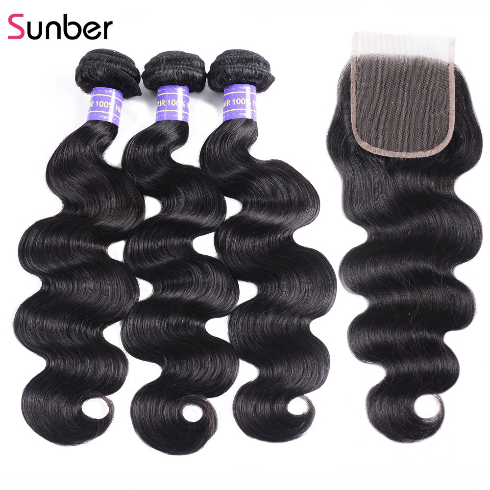 Sunber Hair Brazilian Body Wave With Closure 100% Human Remy Hair Bundles With Closure Human Hair Bundles With Closure