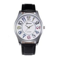 Женеве Мужские Часы Лучший Бренд Класса Люкс мужские Наручные Часы Кожаный Ремешок Саат Моды Случайные Кварцевые Часы Часы Мужчины Час Reloj Hombre