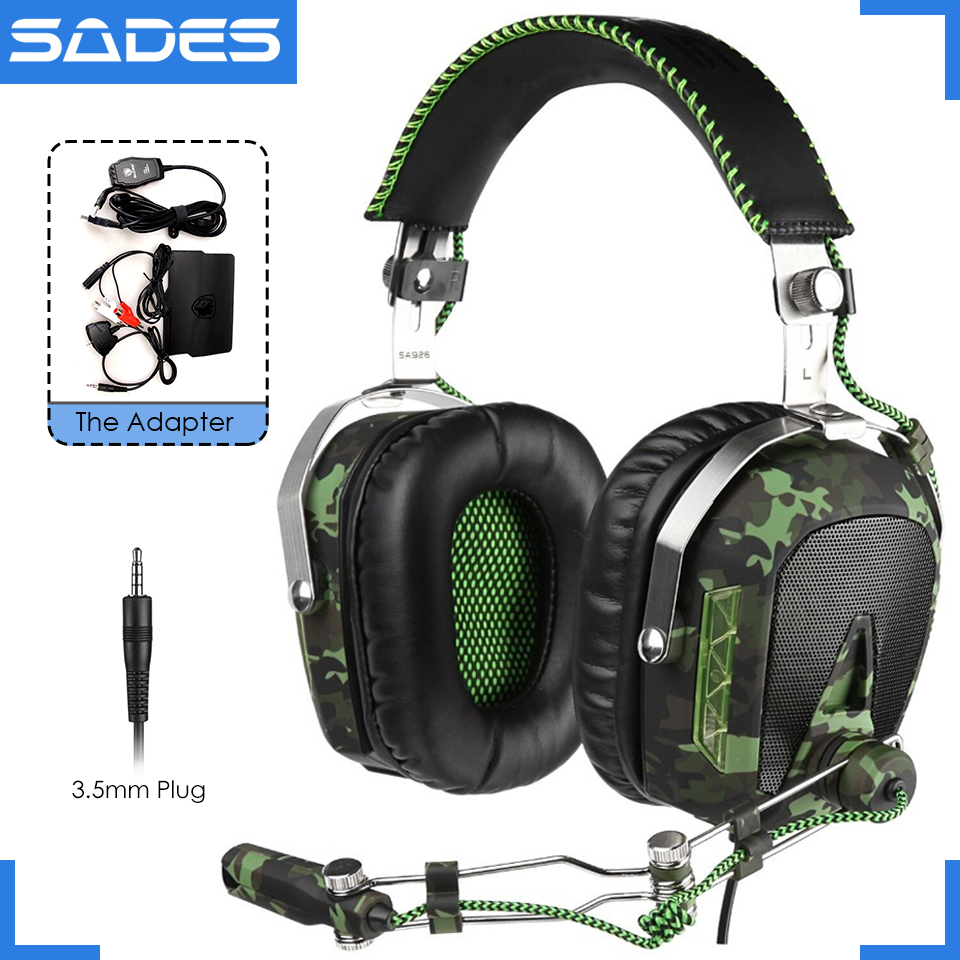 SADES SA926 3.5mm wired headset over-ear gaming headphones with microphone for computer ps3 ps4 xbox one xbox 360 phone laptop super bass gaming headphones with light big over ear led headphone usb with microphone phone wired game headset for computer pc