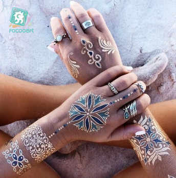 Indian Arabic Designs Flash Metallic Waterproof Temporary Tattoos Gold Silver TatooPaste Fake Tatoo Sticker Girls On Body Hand