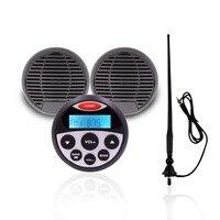 Waterproof Stereo Marine audio system FM AM Radio MP3 3 Waterproof Marine Speaker For Motorcycle Boat +Antenna Sound System