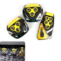 3Pcs Yellow&Blk Manual Transmission Auto Car DIY Foot Brake Nonslip Pedal Covers