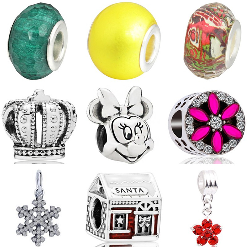Minnie Beads Necklaces Jewelry Charms Crown Crystal-House Snowflake Fit Pandora Women