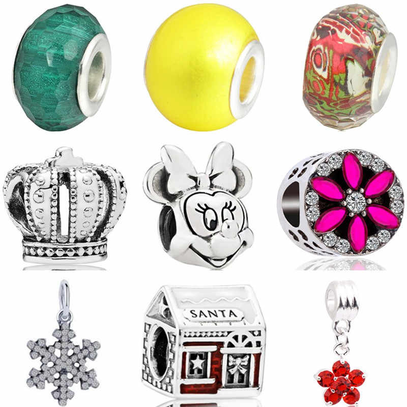 Hot Selling Crystal House Tortoise Crown Snowflake Elephant Minnie Beads Fit Pandora Charms Necklaces for Women DIY Jewelry