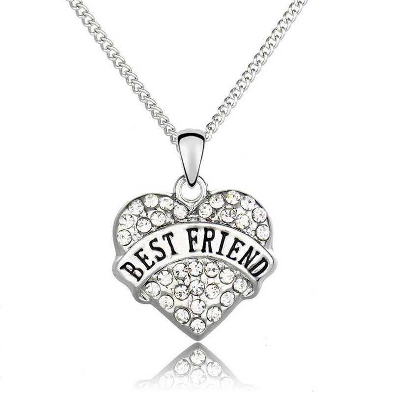 קריסטל לב שרשרת לחברים הכי טובים מתנות DIY ידידות אותיות Neklace לנשים מתנה
