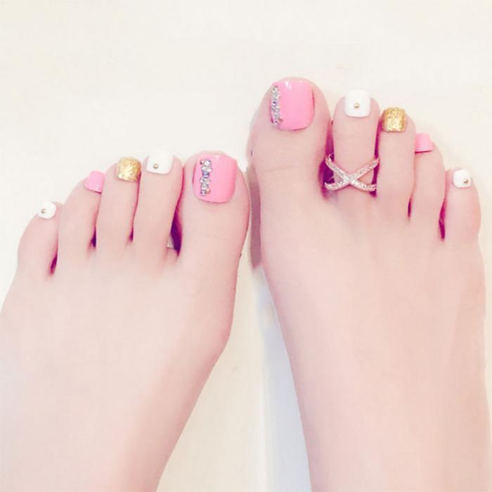24 Pcs/Set 3D Toe Fake Nails With Glue Foot Full Toes Nail Art Tips ...