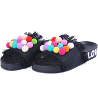 2018 Summer New Design Open Women Outdoor Slippers Bottom Tassel Anti Skid Shoes Demin Candy Color Colorful balls Slides