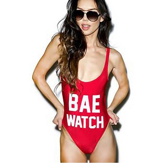 M   M 2018 Одна деталь купальник Для женщин BAE WATCH худшем Письмо печати  купальники 6a944ea9861b8