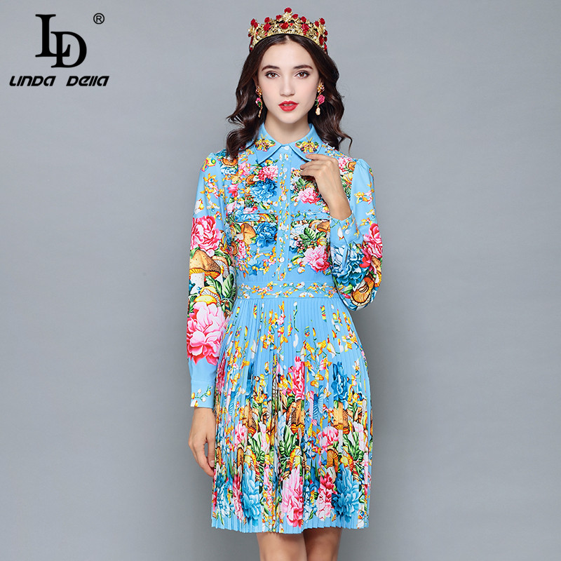 LD LINDA DELLA 2018 Runway Designer Autumn Dress Women s Long Sleeve Casual Holiday Blue Floral
