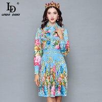 LD LINDA DELLA 2018 Runway Designer Autumn Dress Women's Long Sleeve Casual Holiday Blue Floral Print Slim Pleated Elegant Dress