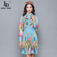LD LINDA DELLA 2018 Runway Designer Autumn Dress Women's Long Sleeve Casual Holiday Blue Floral Print Slim Pleated Elegant Dress