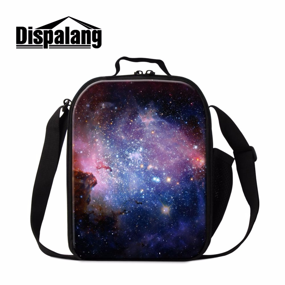Dispalang Designer Lunch Cooler Bag for Kids Galaxy Print Insulated Lunch Bag Personal Lunch Container for Kids Small Meal Bag