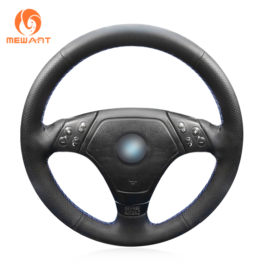 MEWANT Black Genuine Leather Car Steering Wheel Cover for BMW E36 E46 E39 car wind 38 cm genuine leather car steering wheel cover black steering wheel cover for bmw vw gol polo hyundai car accessories