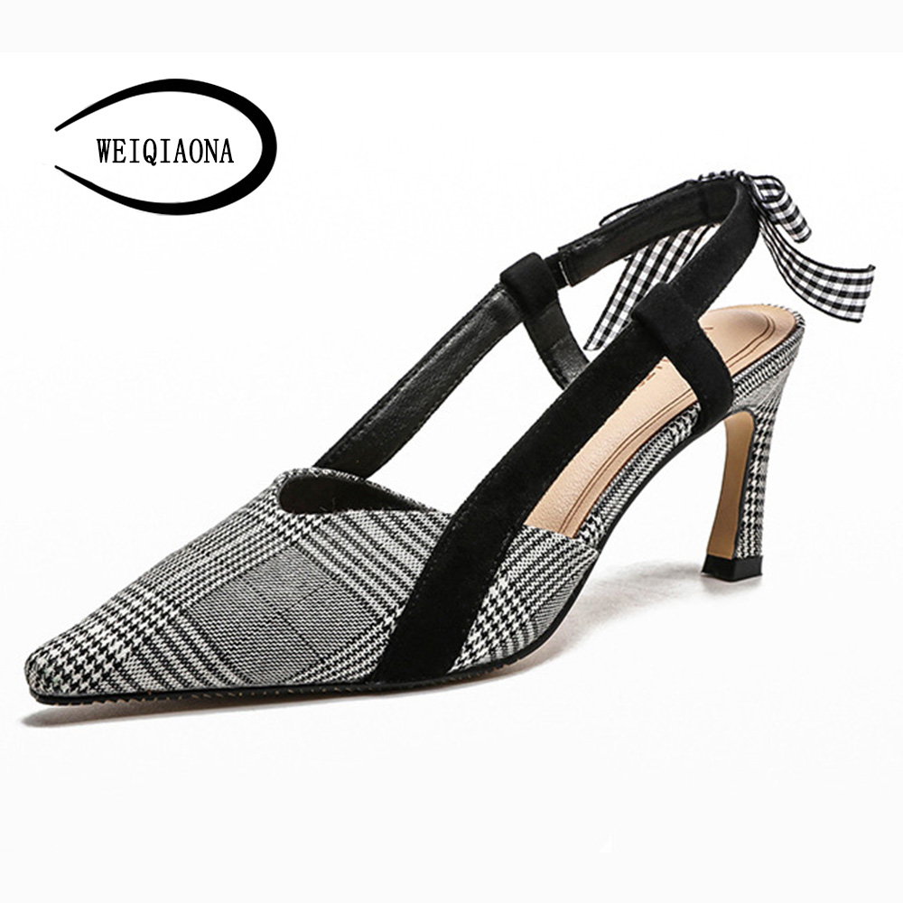 WEIQIAONA 2018 New casual star model Classcial Houndstooth Women Pumps High Heel Pointed Elastic band Wedding shoes Party Shoes WEIQIAONA 2018 New casual star model Classcial Houndstooth Women Pumps High Heel Pointed Elastic band Wedding shoes Party Shoes