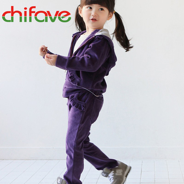 chifave New Spring Autumn 2017 Girls Children Velour Hooded Sweat Suit Ruffles Zipper Active Style Girls Tracksuit Sets