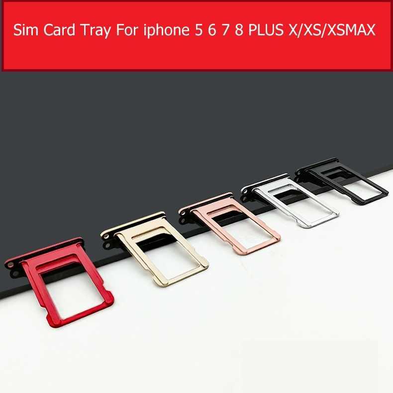 Asli Kartu SIM Slot Soket untuk iPhone 6 6 S 7 7 Plus Pemegang Kartu SIM Adaptor Pengganti bagian