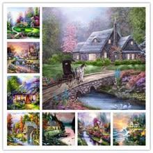 Peinture de diamant mosaïque de Villa de Village de paysage, broderie de perles carrées ou rondes, décoration de maison, bricolage, cadeau avec couture