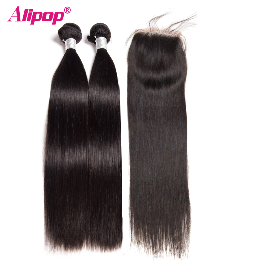 Straight Peruvian Hair Bundles With Closure ALIPOP 2 Bundles With Human Hair Closure 4 4 Top
