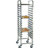 (Ship from EU) 16 Levels Shelving Stainless Steel Gastronorm Bakery Trolley Cart Cake Trolley Home Restaurant