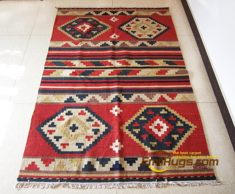 Kilim carpet indian rugs geometric pattern wool american for Home inspired by india rug