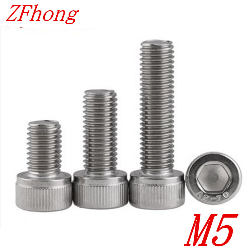 50pcs M5 DIN912 304 Stainless Steel Hexagon Socket Head Cap Screws M5*8/10/12/16/20/25/30/35/40/45/50 2pc din912 m10 x 16 20 25 30 35 40 45 50 55 60 65 screw stainless steel a2 hexagon hex socket head cap screws