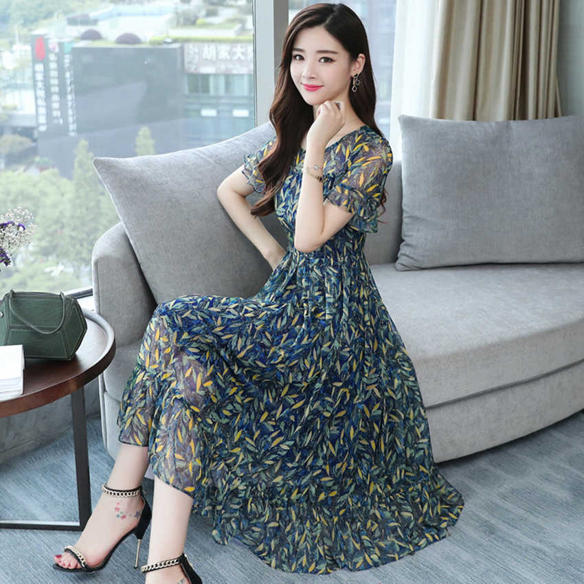23acbe6ff9d3f 3XL Plus size Summer Floral Chiffon Boho sundress 2019 Korean Elegant Women  Beach Midi dresses Casual Party club Dress Vestidos
