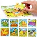 Venta caliente Modelo Animal Rompecabezas De Madera Para Niños de Dibujos Animados de Aprendizaje Educación Juguetes Educativos 3D Rompecabezas De Madera de Juguete Regalos